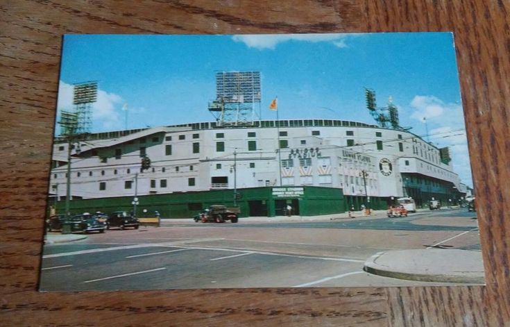 Rppc Postcard Detroit Michigan Briggs Stadium Tigers and Lions 1950's old cars