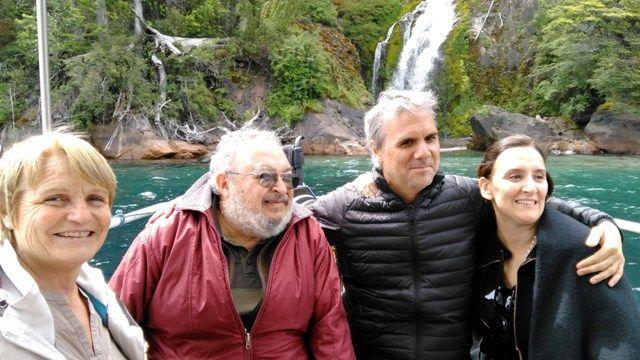 Con Gabriela Michetti en la Patagonia, hablando del libro