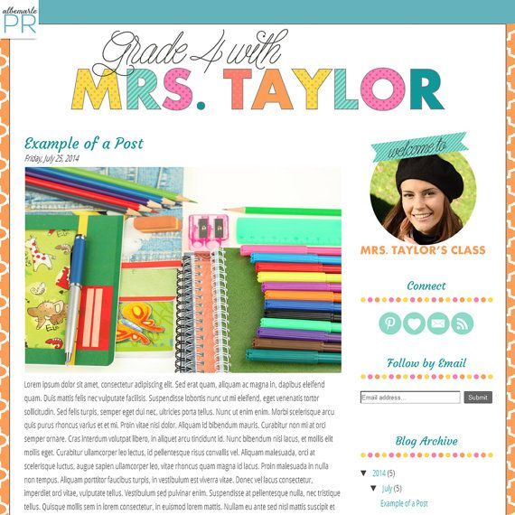 Premade Blogger Template Teacher Blog with Colorful Text - Mrs. Taylor