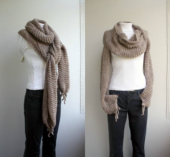 Hand Knit Milky Brown Long Sleeves Wrap Bolero Shrug Over Size / Scarf / Shaw...