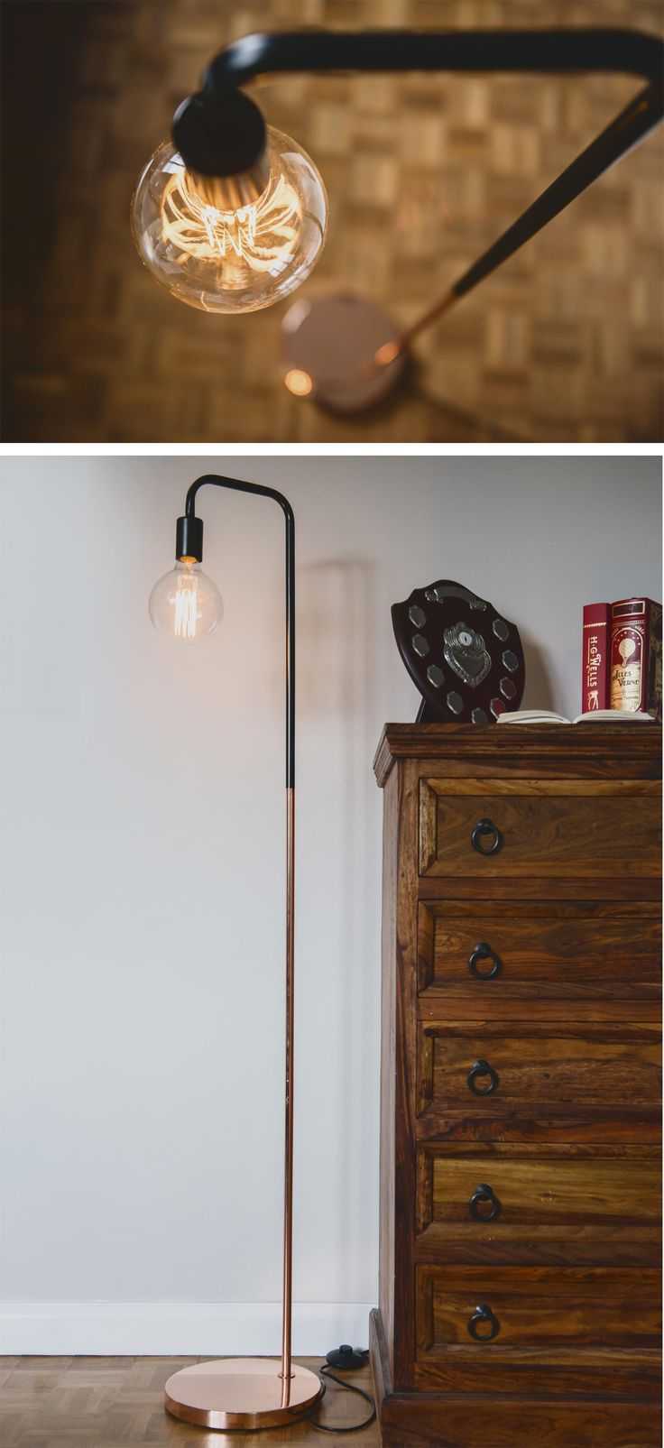 Part of our new 'Vintage Lighting Range' - the Oulu standing light is a taller version of its counter-part, the 'Oulu Desk Lamp' but is remains an eye-pleasing design, with its weighted-base and copper/black finish - as well as featuring a large vintage Edison-bulb*. This model is suitable as a standing lamp and would work well in any domestic or work environment.  You won't be sorry you bought this - It would make a great light to read-by and feature proudly in your home.