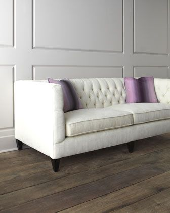 "Living Room | Love in a pretty silvery blue linen or velvet? ""Fulton"" Tufted Sofa by Bernhardt at Horchow."