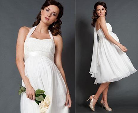 Короткое свадебное платье для беременной