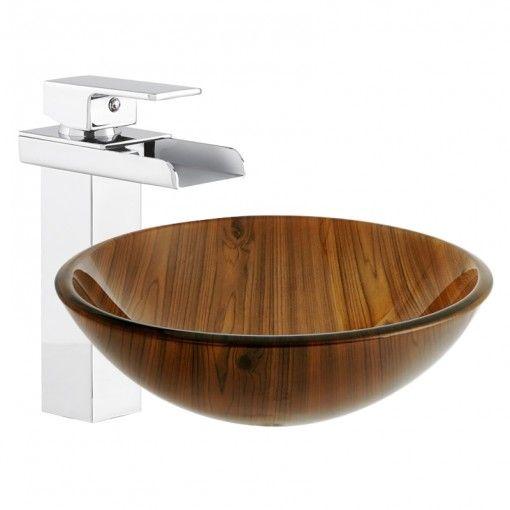 Arabella Wood-Effect Glass Basin & Detta Extended Waterfall Basin Mixer