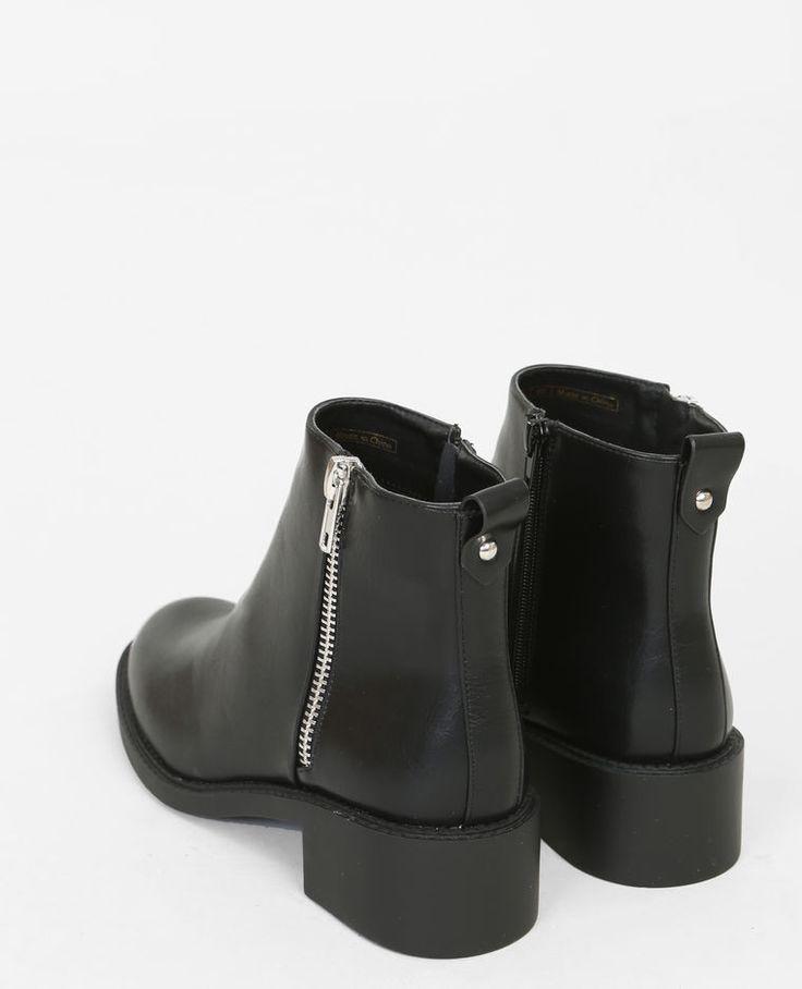 Boots plates zippées noir
