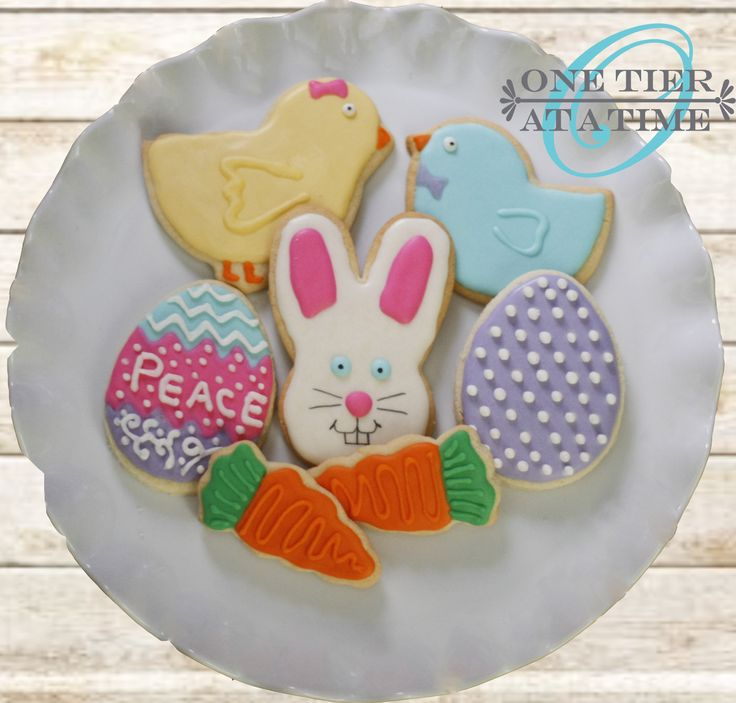 Easter sugar cookies - bunny, chicks, eggs, carrots - royal icing decorations