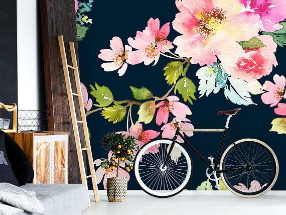 Removable Wallpaper Mural Peel Stick Spring Floral Etsy Mural Wallpaper Removable Wallpaper Mural