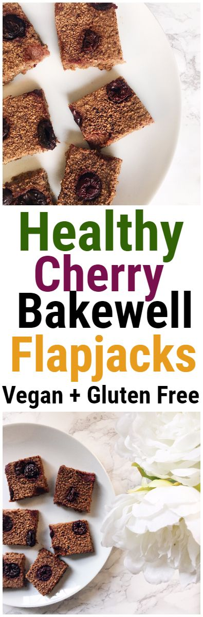 Cherry Bakewell Healthy Flapjack Recipe #cherrybakewell #healthyflapjack #veganflapjack #flapjack #recipe #healthy #glutenfree #vegan #plantbased #oats #bars #snack #almonds #dessert #cherry #fruit