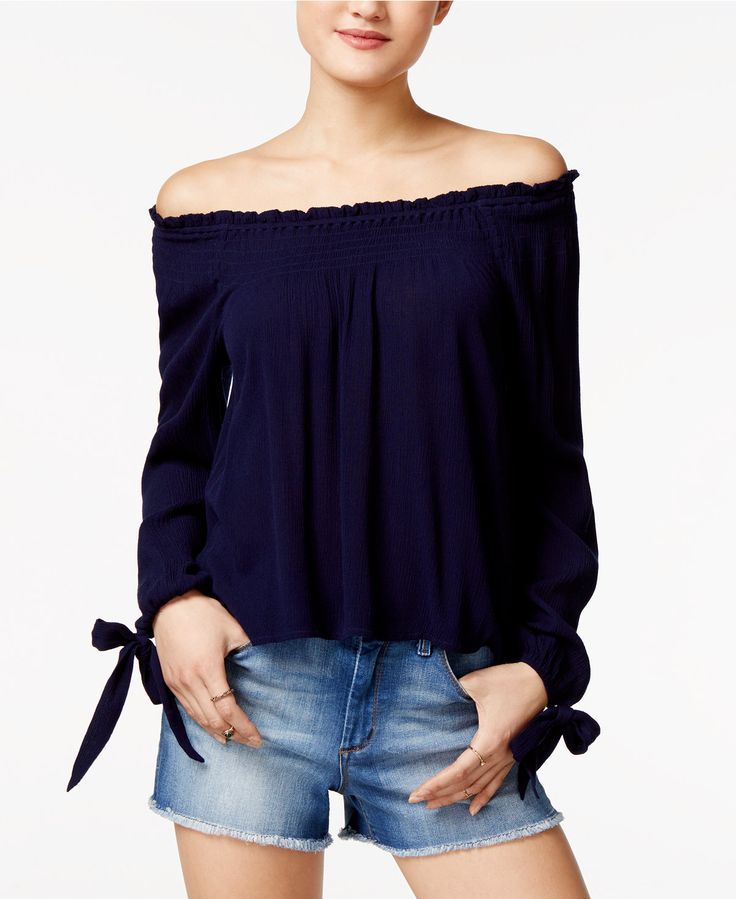 American Rag Off-The-Shoulder Peasant Top, Only at Macy's - Juniors Tops - Macy's