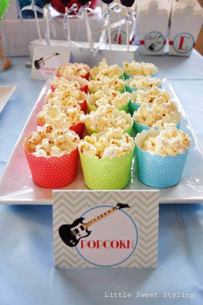 Guitar Rock Star Birthday Party Popcorn Ideas