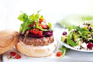 Lamb burger with quinoa and beetroot salad