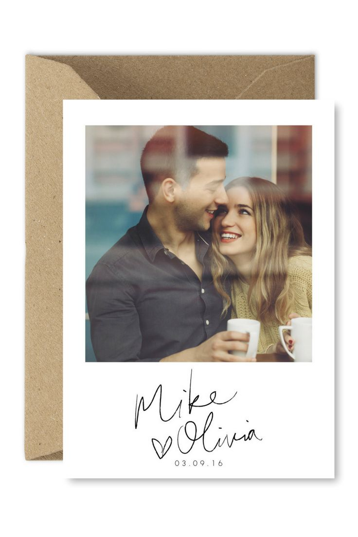 Photo Save the Date Cards Printable Template Modern Wedding Postcard