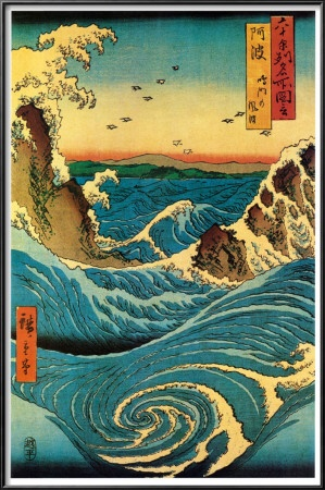 Navaro Rapids, print by Japanese artist Hiroshige. Reading about his work now, enjoying it so much.