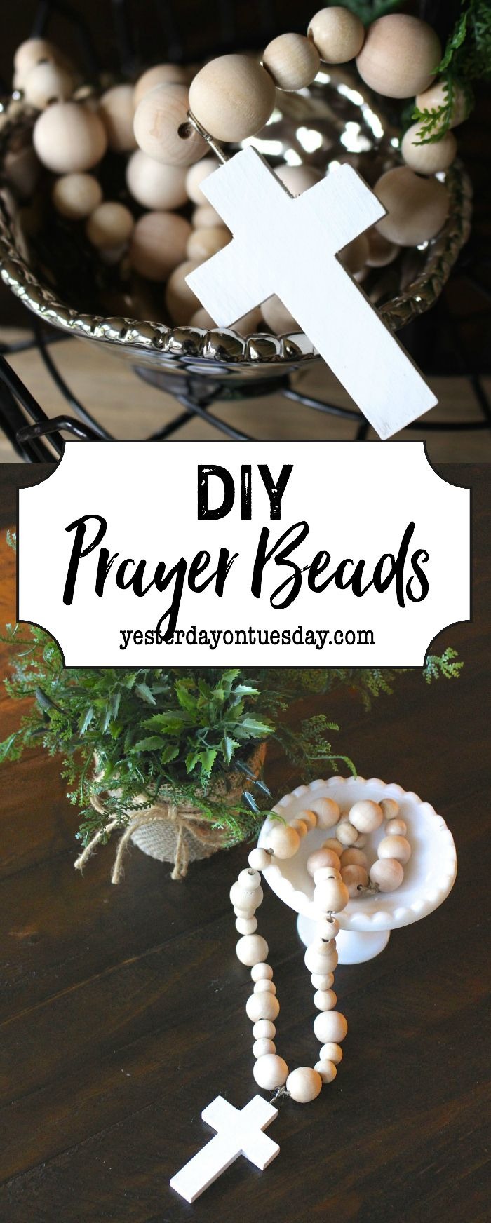 DIY Prayer Beads: How to make your own modern farmhouse style prayer beads. An easy and beautiful fixer upper style decorating detail. fixer upper | modern farmhouse | decor | prayer beads