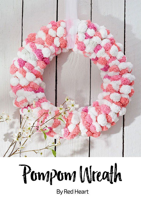 bbdf039d255 Pompom Wreath free craft pattern in Pomp-a-doodle yarn. Making this  stunning wreath is quick and easy! We held two strands of Pompa- Doodle  yarn together ...
