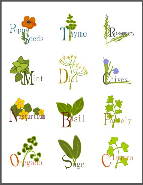 A collection of  labels for your kitchen herbs by Shy Socialites. Free to download! Labels are printable fillable PDF templates. Labels for rosemary, Thyme, Basil, Dill, Poppy Seeds and more!