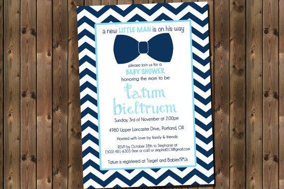 Blue Bow Tie Baby Shower with Chevron Invitation by RockStarPress, $13.00
