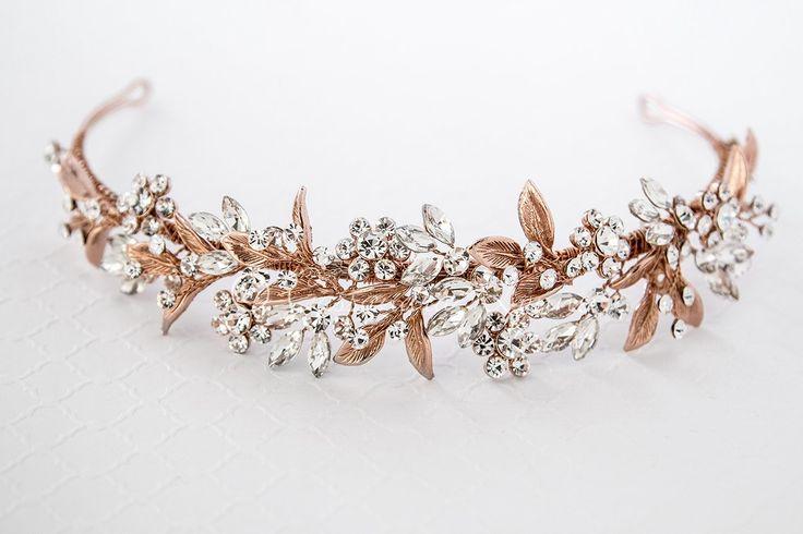 Crystal Rose Gold Wedding Tiara