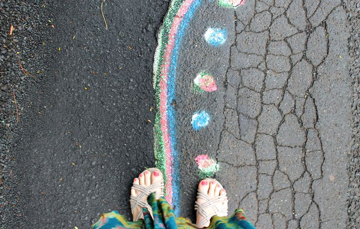 Bold art that serves a purpose. Using the road as his own art gallery, a man known only as Roa Dart marks potholes and other road dangers with colourful spray painted designs. His wonderful art is everywhere in the region. Lismore/Nimbin region of Australia.