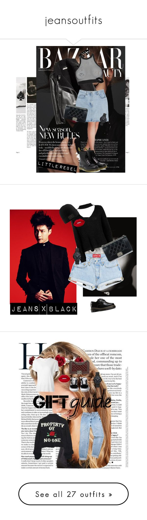 """""""jeansoutfits"""" by blondsailorina ❤ liked on Polyvore featuring Bill Blass, Dsquared2, Dr. Martens, Chanel, Boohoo, Lime Crime, Johnny Loves Rosie, R13, High Heels Suicide and Oui"""