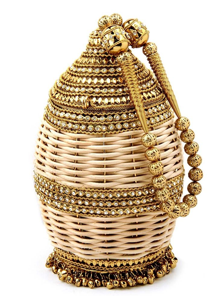 Fabulous potli #Purse made of golden brass and wood embellished with glittering diamantes. Item Code: SJBP2010 http://www.bharatplaza.com/new-arrivals/accessories.html