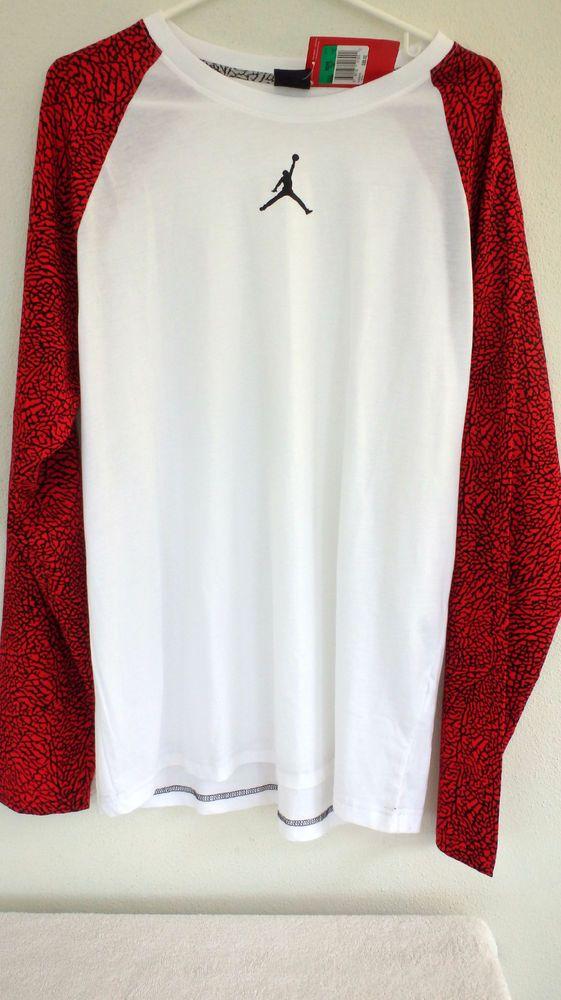 Nike Mens Air Jordan 3 III Elephant Print LS Crew Shirt Size XL [685293-695] $55 #Nike #CrewShirt