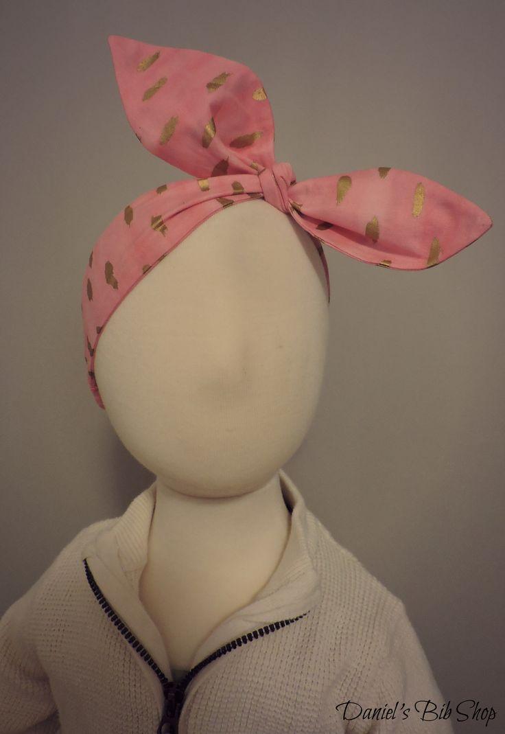 Handmade pink and gold top knot headband