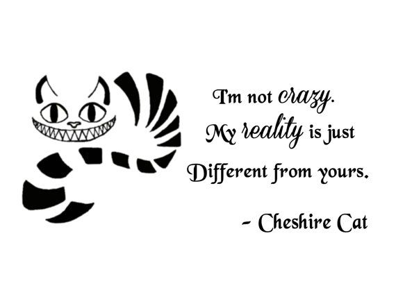 "Cheshire Cat Quote-I'm Not Crazy- Wall Decal- (24"" X 11"