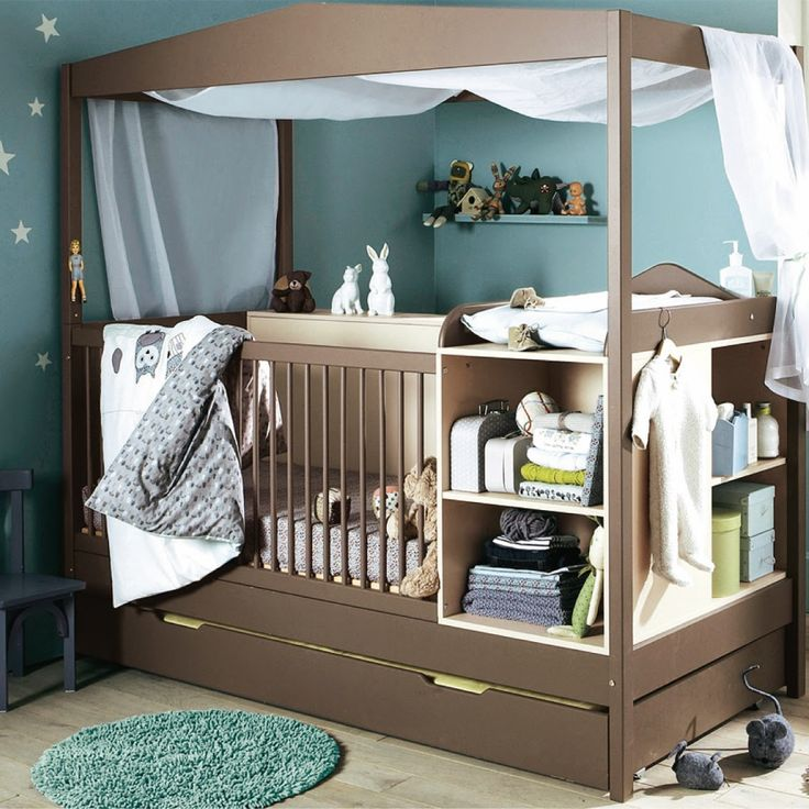 Adorable brown wooden baby cribs bedrooms design with blue for Baby blue and brown bedroom ideas