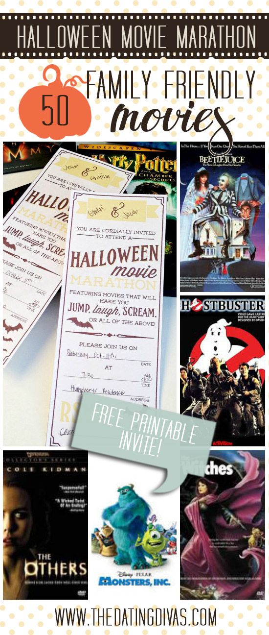 50 Family-Friendly Halloween Movies to pick from for a fun Halloween Movie Marathon- plus a darling printable invite from TheDatingDivas.com