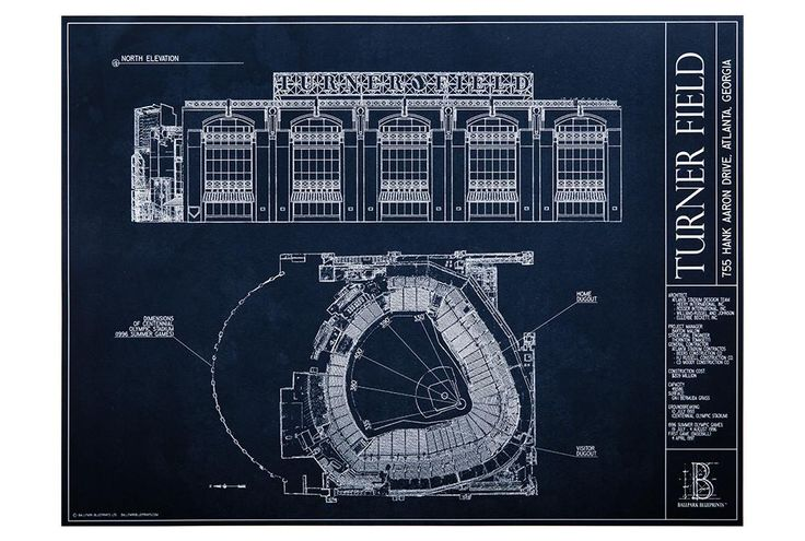 Turner Field | Atlanta Braves | Atlanta Braves Gifts - Ballpark Blueprints