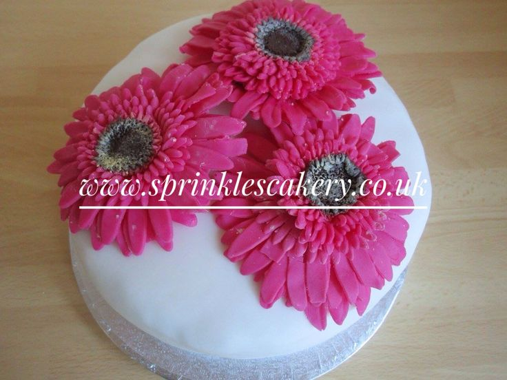 """This 6"""" round birthday cake was topped with handmade cerise fondant gerberas as a skill practice for my mother-in-laws birthday a couple of years ago."""