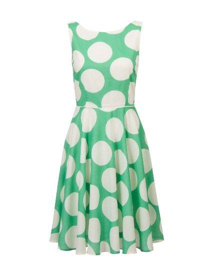 A-lijn jurk met stippen Groen