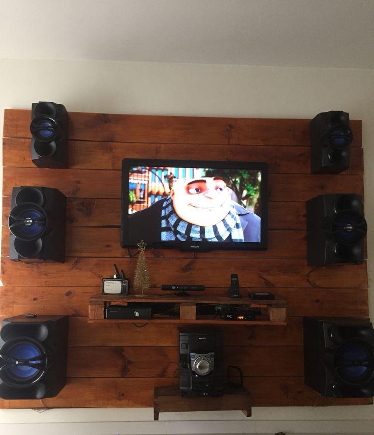 Armario Para Consultorio Odontologico ~ Painel para Tv feito com madeira, pallet e caixote de