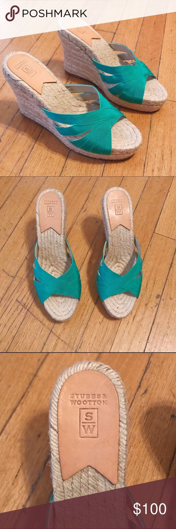 NWOT Stubbs & Wootton Green Espadrilles Sandals These sandals are brand new - never been worn. Green grosgrain ribbon with jute lower. Leather soles. 5 inch wedge heel. Super cute and perfect for a beach getaway! Stubbs & Wootton Shoes Wedges