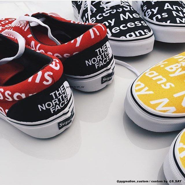 d520122f83 Custom Supreme   TNF By any means necessary vans  8 say
