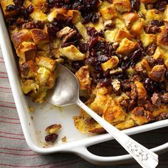 Eggnog Bread Pudding with Cranberries Recipe -My parents love this bread pudding loaded with cranberries and pecans – and it uses up leftover dinner rolls. For eggnog lovers, it makes a divine dessert. —Emily Hobbs, Springfield, Missouri