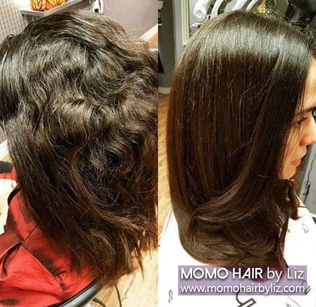 Sample pictures of the customer who had Japanese hair straightening (Japanese straight perm) at momo hair salon in Toronto
