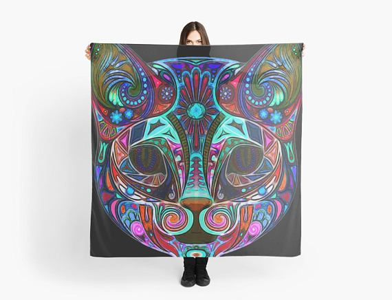 Art painting on Scarf rainbow cat scarf/wrap Foulard