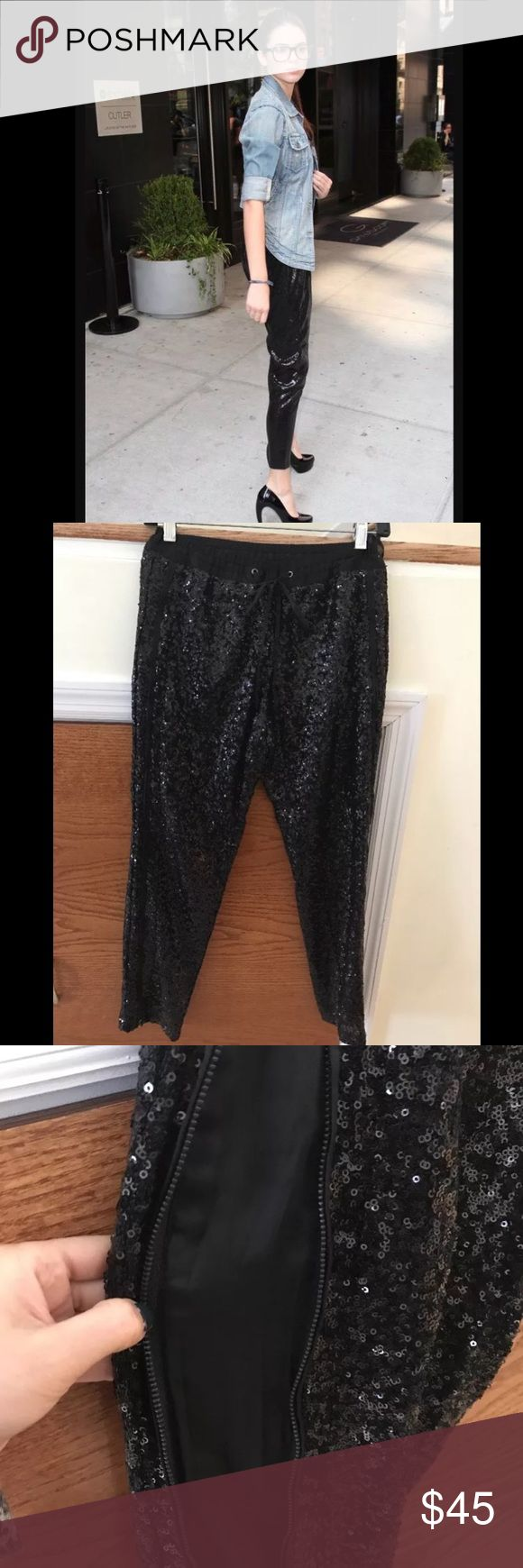 Black Sequin Pants Small, Kendall Jenner Black sequin pants  elastic waist  new without tags size zipper  fully lined  size small  Measurements (approximately) waist (stretch) 30 inches inseam 25.5 inches Total length 35 inches Own this look just like Kendall Jenner. Sequin is. Wry much in Trend now. Returns are accepted.Money will be refunded after merchandise is returned. Buyer pays return shipping cost. Feel free to ask any questions before purchasing . Please check out my other items I…