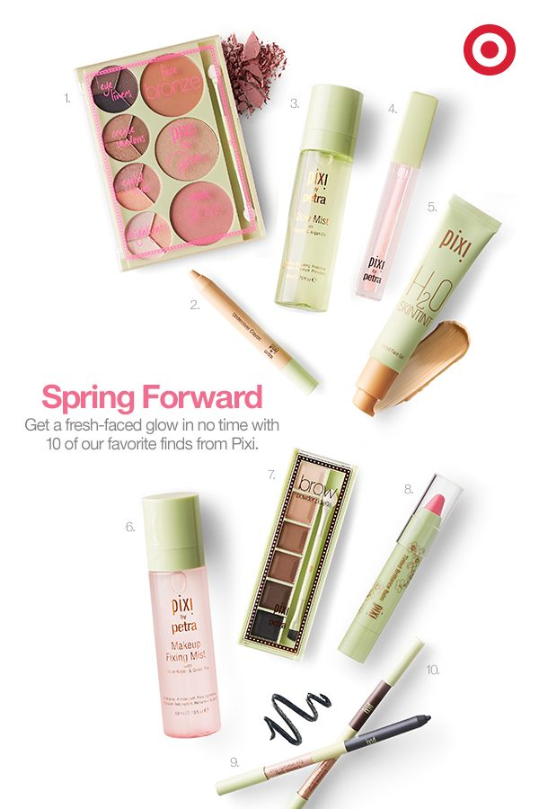 Say hello to these 10 picks from Pixi for a no-fuss, fresh-faced look: 1. Palette Bronzer 2. Undercover Crayon 3. Glow Mist 4. LiftLip Max 5. H2O SkinTint 6. Makeup Fixing Mist 7. Brow Powder Palette 8. Tinted Brilliance Balm 9. Blue Eye Intensify Pencil 10. Brown Eye Intensify Pencil Duo.