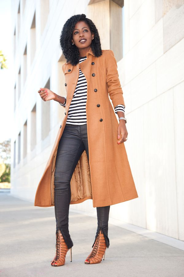Camel Trench Coat + Striped Tee + Coated Moto Jeans Style Pantry waysify