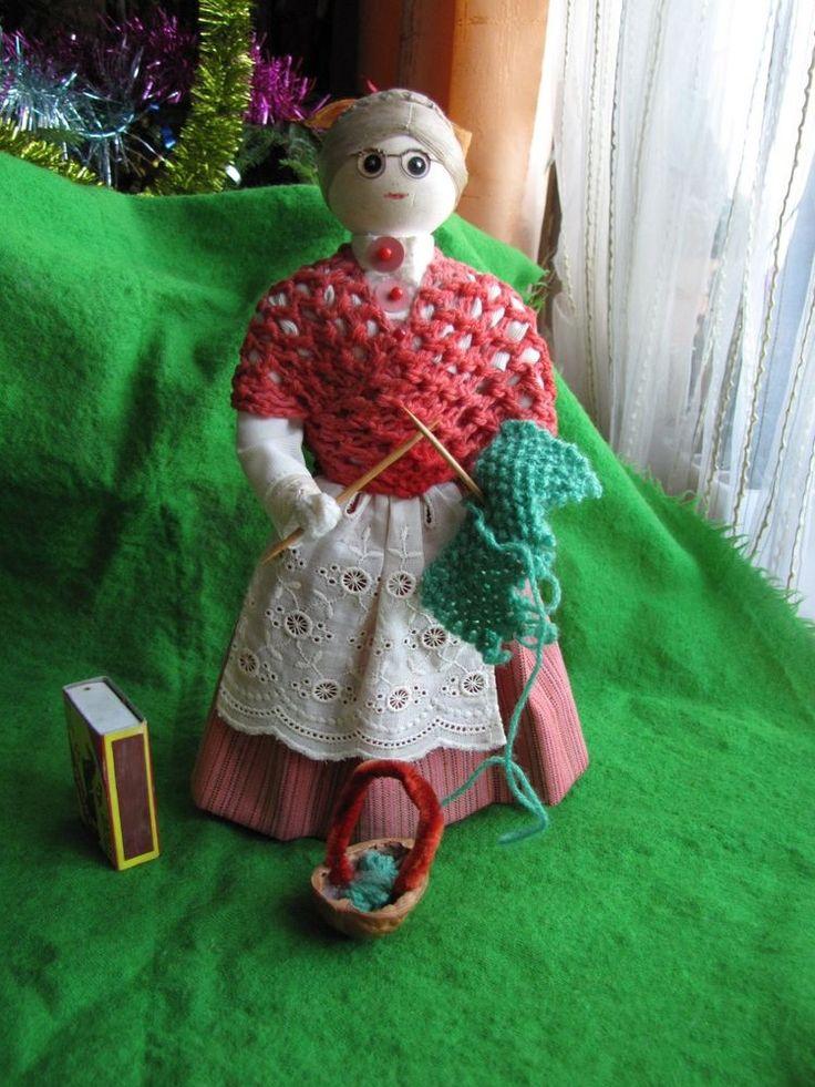Vintage Handmade wood Girl Doll Figure Costume knits Sweden