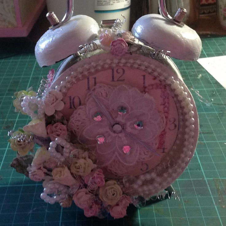 by Jeanelle Downey  Mixed Media  shabby chic clock
