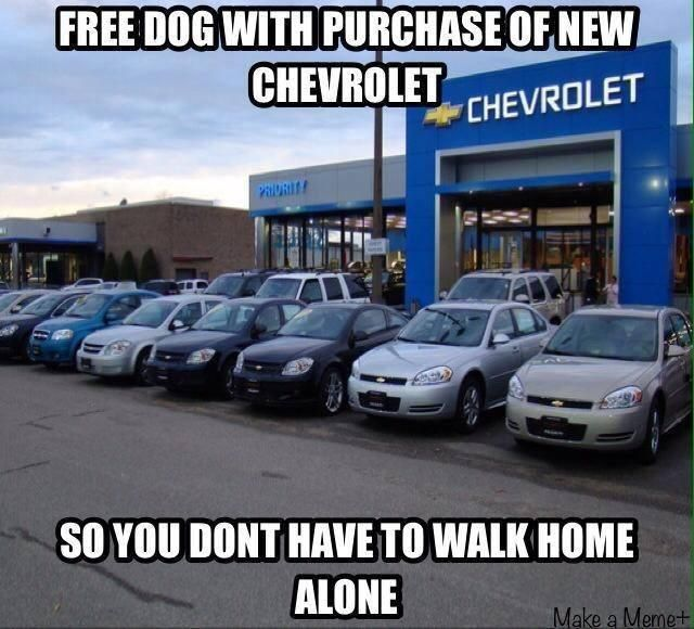 IMAGINE THAT!!! A free dog with purchase of a new Chevrolet... so you don't have to walk alone!! LOL
