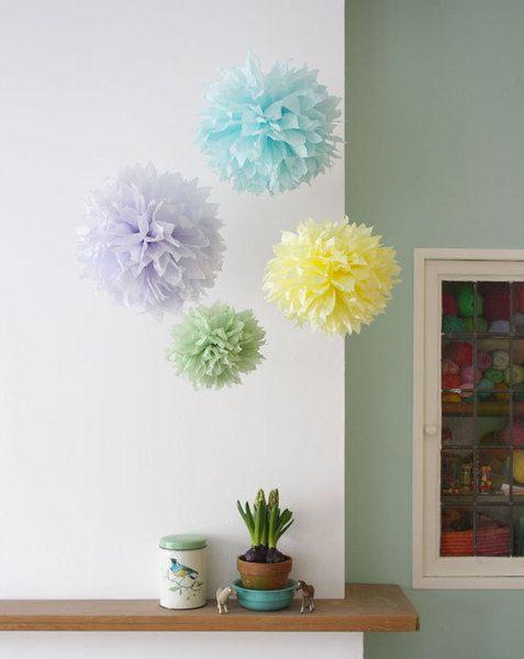 Dekorieren Sie ihr Hause, Picknick, Party, Hochzeit, Dusche mit diesen fantastischen Fluffy PomPoms.    Eine Set besteht aus:  - 1 small Pompom 22 ...