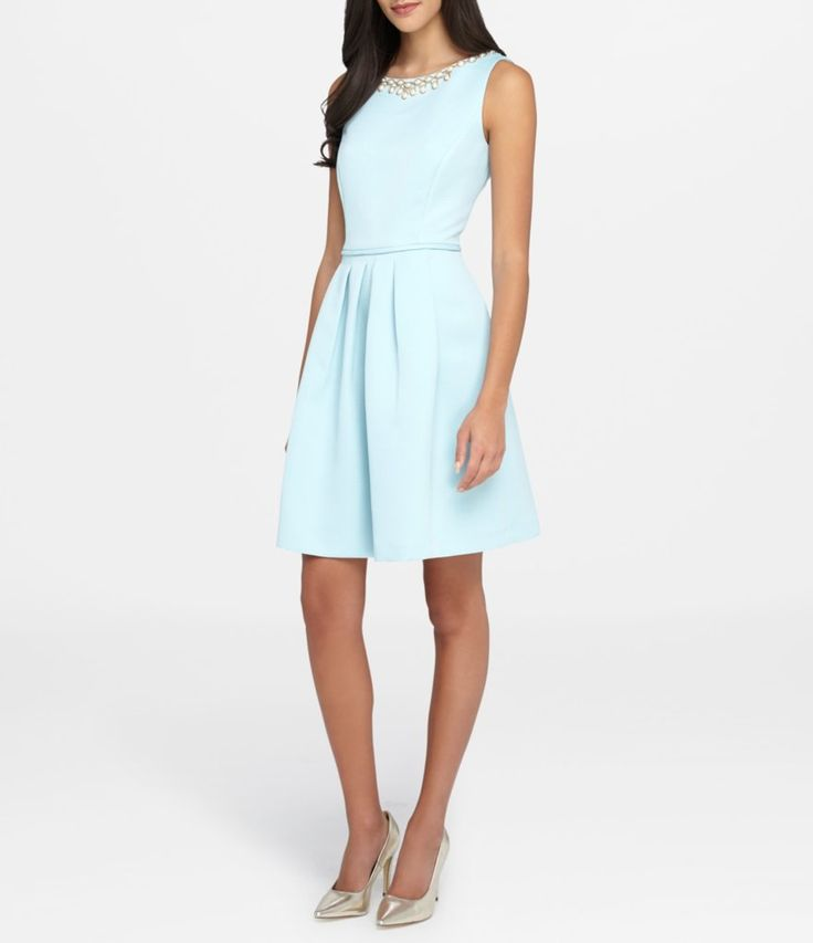 Tahari ASL Pearl Necklace Metallic Fit-and-Flare Dress