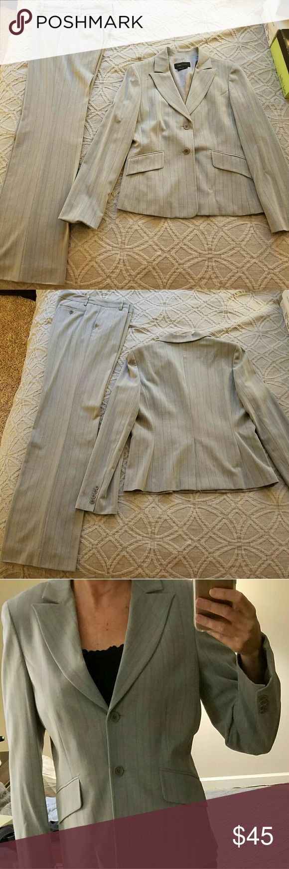 """BCBG MaxAzria 2 piece suit BCBG MaxAzria 2 piece suit. I've lost a bit of weight, so my suits no longer fit me. Pants are size 10. Jacket is a Large. I'm 5'-11"""" and pants are plenty long & can be hemmed.  Both pieces sold together. I will not sell separately. Sorry no trades, I'm trying to purge! Full disclosure, I do not smoke, however I have a hypoallergenic Labradoodle (photobomb) that doesn't shed (not for sale, but if he continues to eat my shoes, he might be! j/k). BCBGMaxAzria Jackets…"""