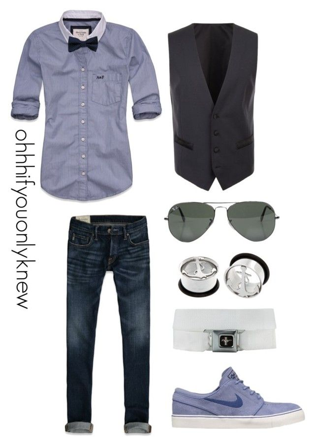"""""""Untitled #162"""" by ohhhifyouonlyknew ❤ liked on Polyvore featuring Abercrombie & Fitch, NIKE, Ray-Ban, Dolce&Gabbana, waistcoat, plugs, a&f, my creations, sexy and dyke"""