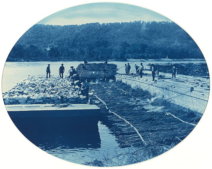 Henry Peter Bosse, Construction of Rock and Brush Dam, L.W. 1891, 1891, cyanotype, National Gallery of Art, Gift of Mary and Dan Solomon, 2006.131.2